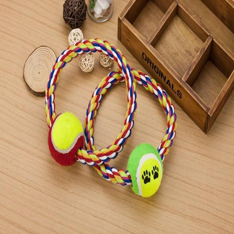 Wholesale New Designer Pets Toy Dog O Ring Type Cotton Rope With Tennis Ball Chew Products For Dogs