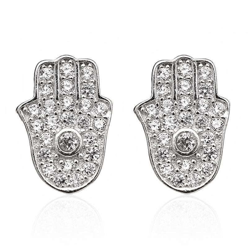 Wholesale Stunning Ct Round White Zirconia Sterling Silver Stud Hamsa Earrings