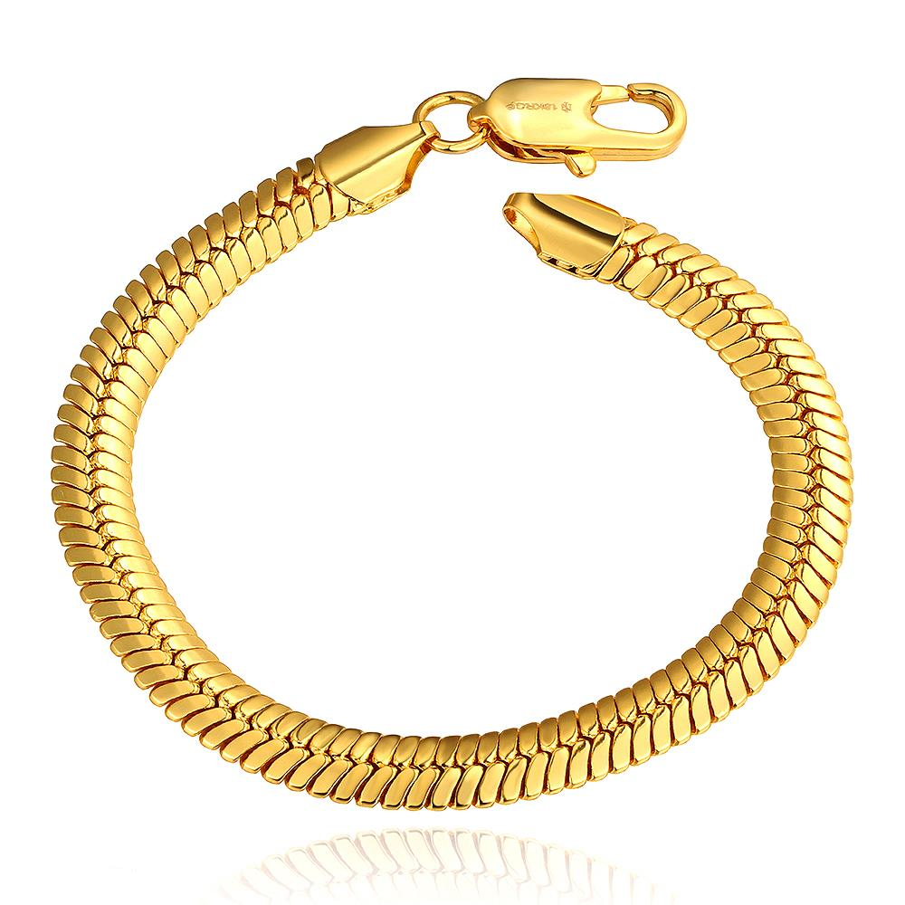allergy alloys nickel - B084 High Quality Nickel free Allergy New Serpentine Fashion Jewelry K Gold Plated Lobster Claw Clasp Bracelet