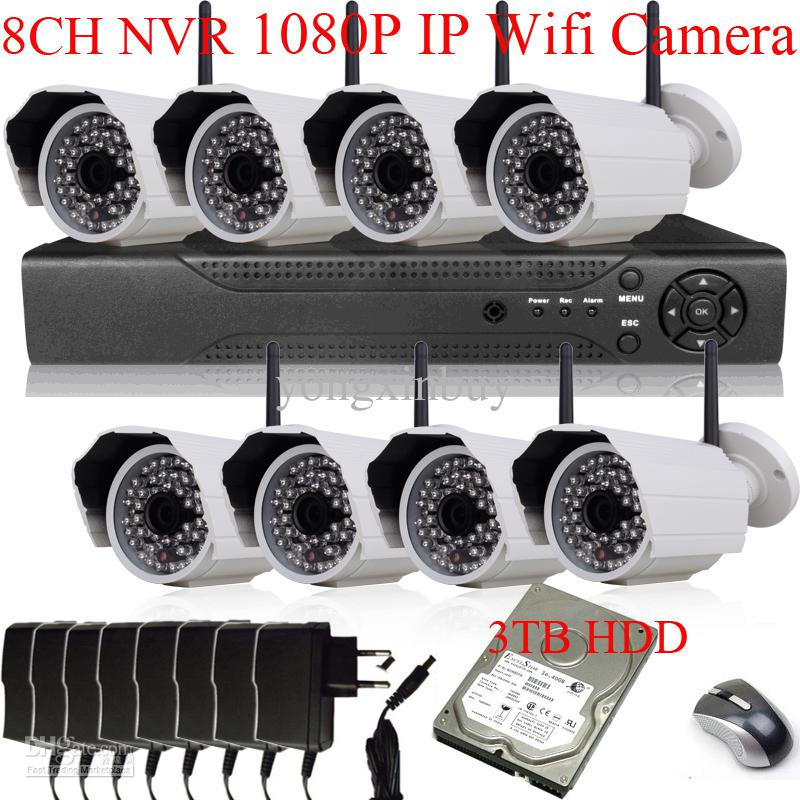 Wholesale 8CH H NVR System Sony Sensor MegaPixel P x1080 Wireless Wifi Network IP Camera Outdoor IR With TB HDD