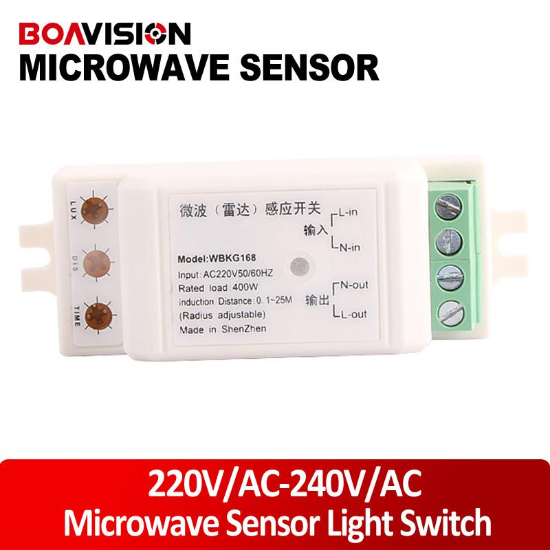 Wholesale Nasasafe High quality Auto adjustable V AC V AC Microwave Sensor Light Switch Auto Induction Microwave radar Motion Sensor degree