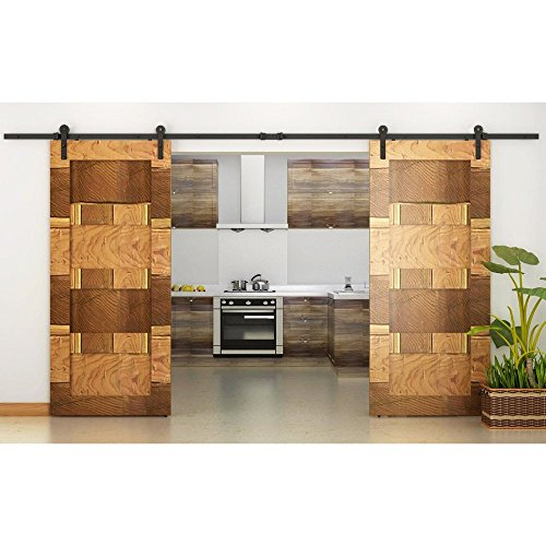 american country barns - 8Foot barn door hardware Black Country American Style Straight Design Barn Wood Steel Sliding Double Door Hardware Closet Set