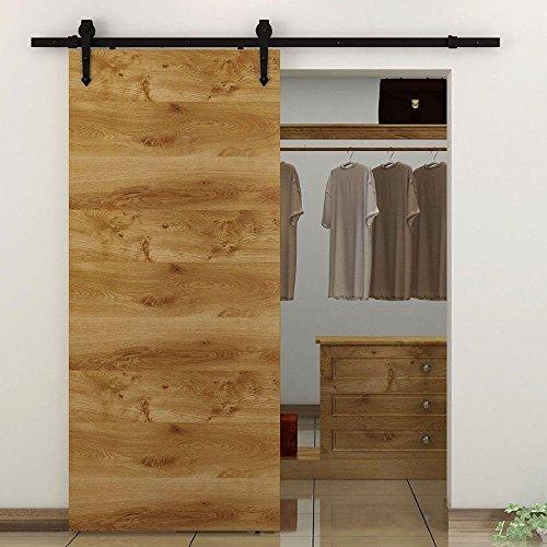 bent door - KIRIN DBU Black Bending Design Sliding Roller Barn Single Wood Door Hardware Closet Track Kit Set FT Single Door Kit
