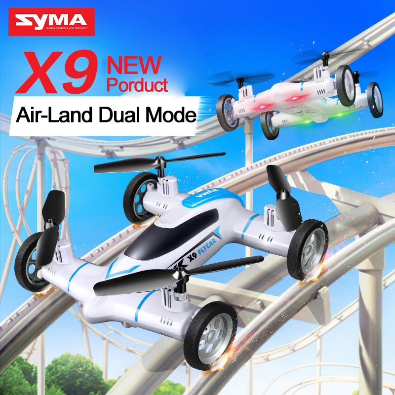 Wholesale DHL free Syma X9 Mini Drone Air Land Dual Mode RC Flying Car Quadcopter G CH Axis Speed Switch With D Flips VS Syma X5 X5C X5SW