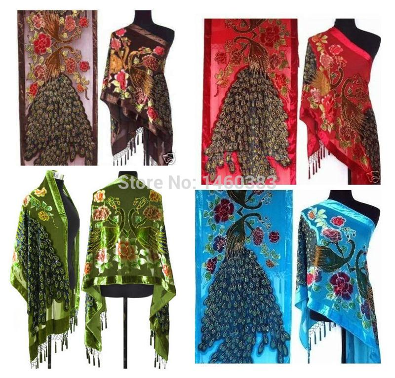 Wholesale Fashion Lady Women Peacock Beaded Velvet Silk Tassels Embroidered Scarf Wrap Shawl