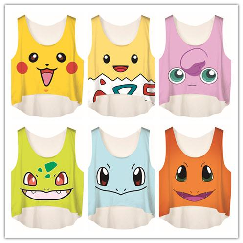 Wholesale Pocket Monster Women Crop Top Summer Women Poke Go Print Tanks Fashion Camis White Clothing U Neck Casual Elastic Vest Tops