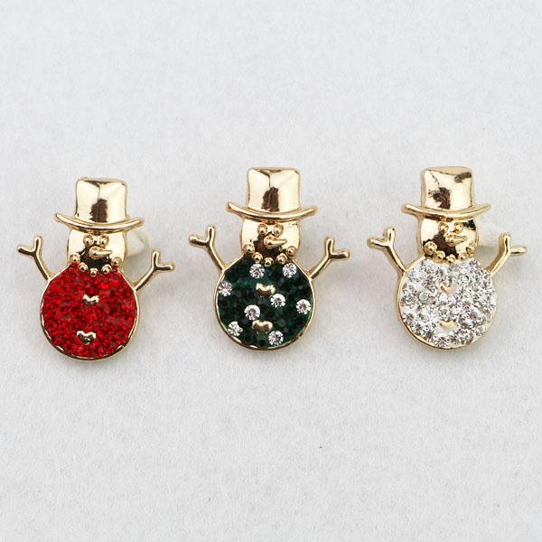Wholesale colors New Interchangeable Accessory With Crystal Christmas Snowman Ginger Snap Buttons mm Fit Button Snaps Bracelet Jewelry