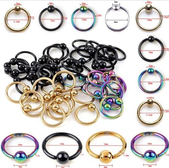 Wholesale HOT SELLING Captive Bead Ring Ball Hoop Eyebrow Nipple Nose Lip Earrings Body Piercing