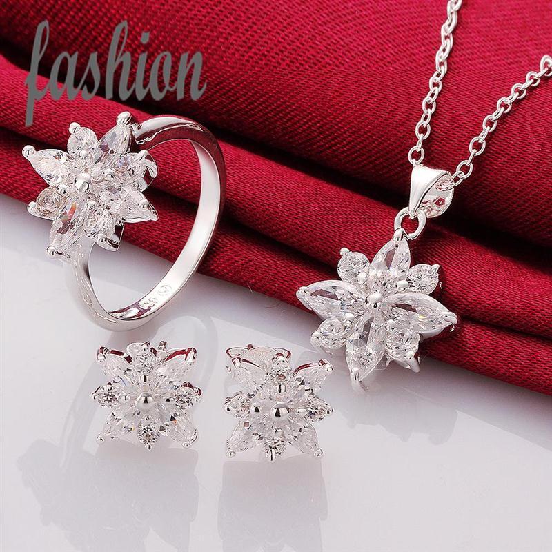 Acheter en ligne 925 ensembles de mariée-Vente en gros-2015 Nouvelle Jewerly Set 925 Silver Jewel, nuptiale bon marché met en vente Hot Sale SMTS747