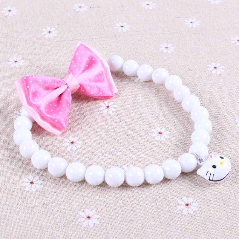 bead necklace mardi gras - New Designer White Pearl Dog Necklace Cute Bead Collar With Pink Dot Bow Bell Accesorios Perros Puppy Cats Pet