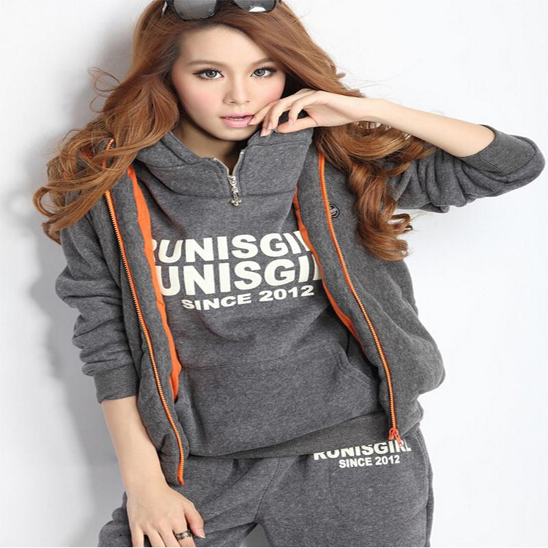 Wholesale Sports sweatshirt tracksuit women s sets pieces hooded fleece thick sweatshirt