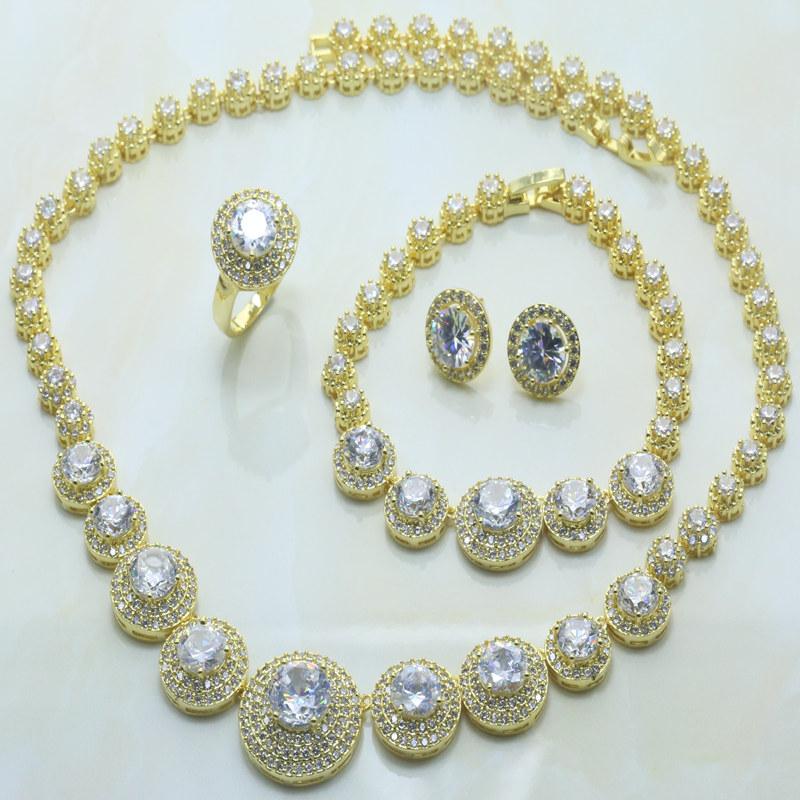 Wholesale SJ005 Women K Gold Plated African Beads Wedding Jewelry Set Four Piece Earrings Pendant Necklace Bracelet