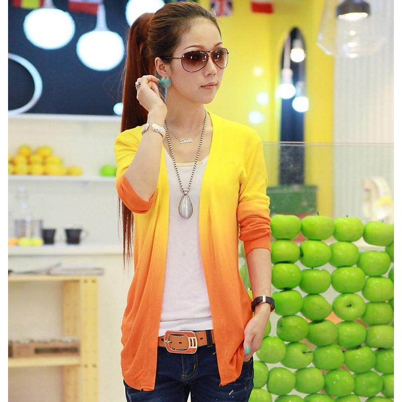Wholesale New Spring Sweet Candy Color Knit Women Sweaters Cardigans Show Thin Womens Sweater