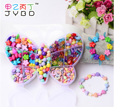 Wholesale Plastic Acrylic Bead Kit Accessories Girl Toys Jewelry Making Kids Beads Set Latest charming Necklaces BDH019