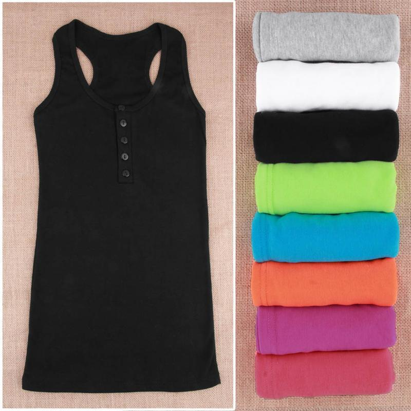 Wholesale Ladies Multicolor Long Sleeveless Temperament Cotton Long T shirt Tank Top Women Vest Tops Hot Fit for All Summer Must Have