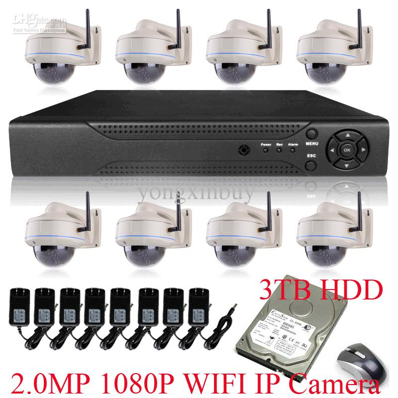 Wholesale H CH NVR System Vandal proof Dome MegaPixel Sony Sensor P Full HD WIFI Wireless Network IP Camera With TB HDD
