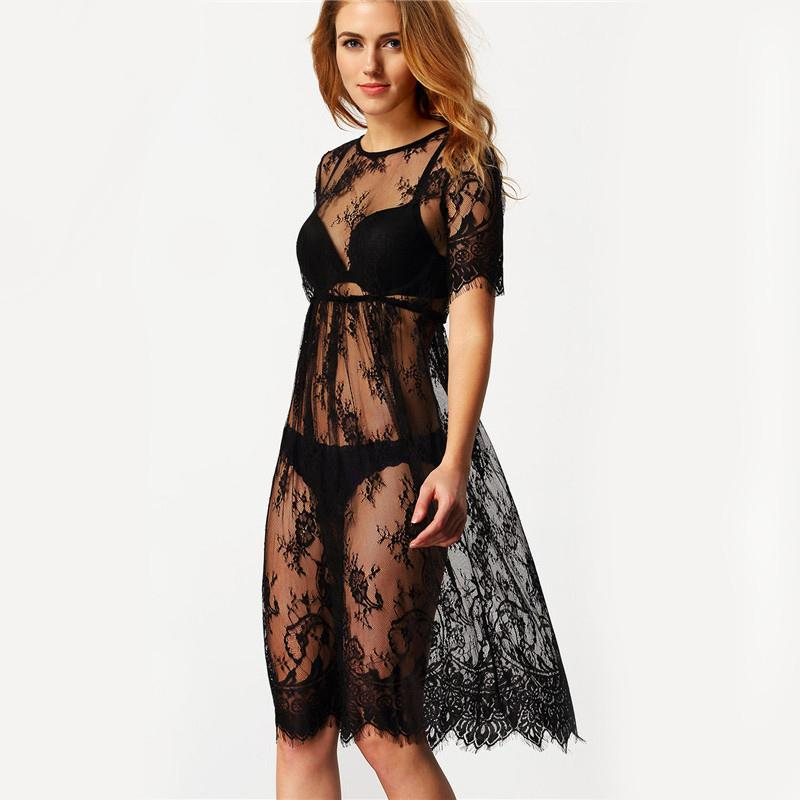 Wholesale See Through Black Short - Women Midi Dresses Casual Long Black Short Sleeve O Neck See Through Beach Wear Lace Sexy Dress
