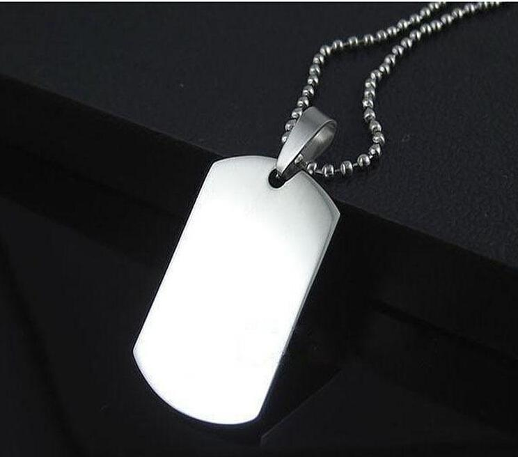 Wholesale Blank Engravable Stainless Steel Cat Dog Tag Military Shape Men Pendant for boys