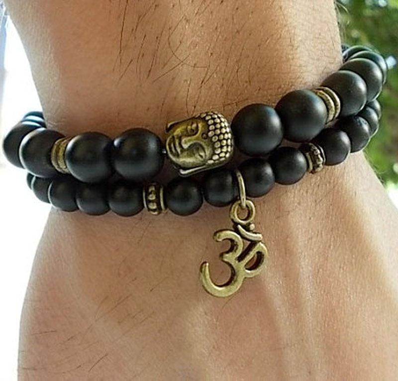 achat en gros de jeu de méditation-Vente en gros-SN0139 Ensemble de 2 bracelets de Bouddha Bracelet de yoga et de méditation Bracelets d'agate d'hommes Mat Bracelet noir d'onyx