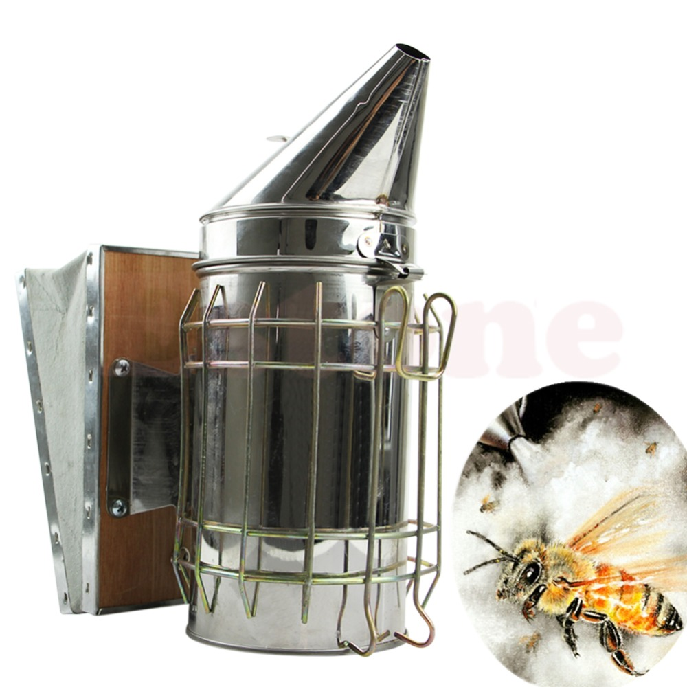 bee hive smoker - New Hot Bee Hive Smoker Stainless Steel With Heat Shield Beekeeping Equipment