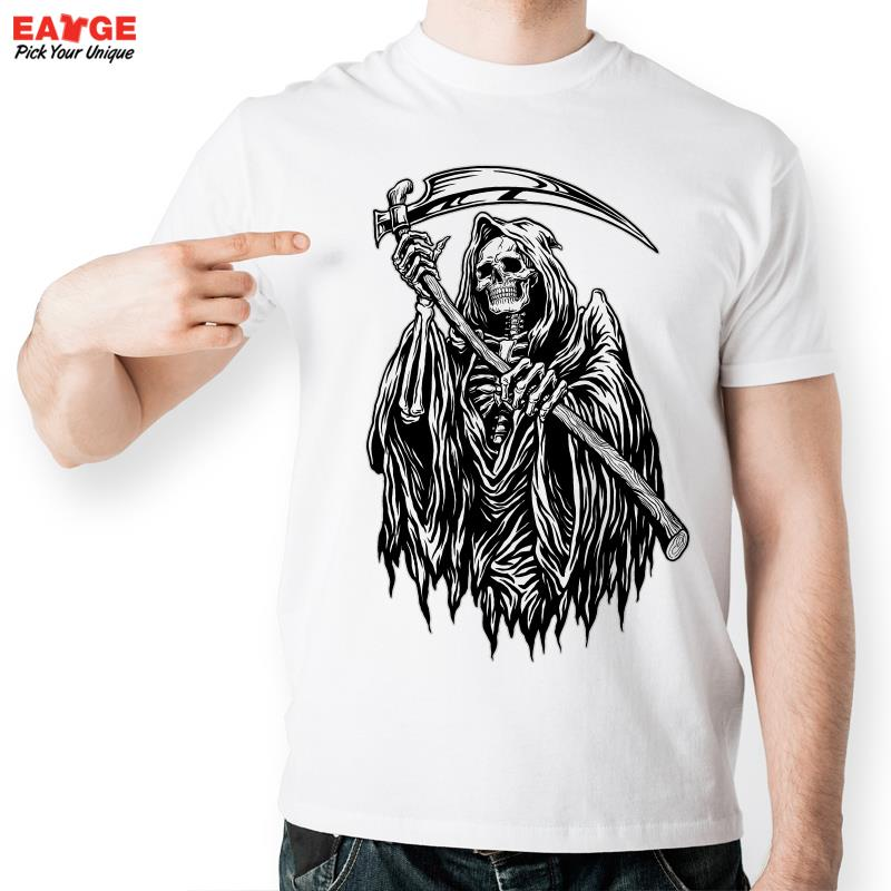 scythe - EATGE Skeleton Death God Holding Reaper Scythe T Shirt Design Fashion T shirt Cool Casual Novelty Tshirt