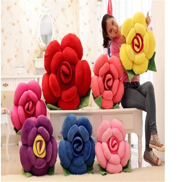 Wholesale Hot cm Rose Big Pillow Bolster Toy Flower Leaves Cushion Doll Pure Cotton Plush Toy Stuffed Birthday Wedding Gift TY119