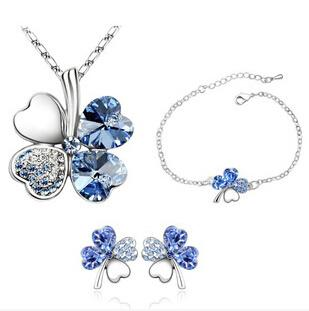 Wholesale Austrian Crystal Clover four Leaf Leaves Pendant Necklace Earrings Bracelet colors Jewelry Set