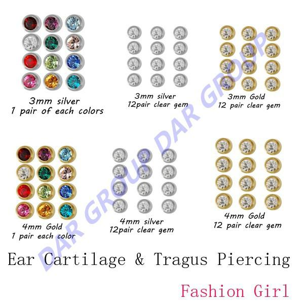 Wholesale DAR Pairs Gift Packing Studex Surgical Steel mm mm Ear Cartilage Tragus Piercing Earring Stud Body Jewelry