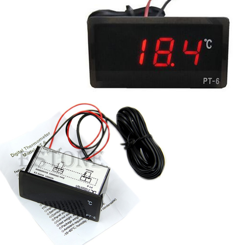 Wholesale J34 Vehicle Digital Thermometer Car LED Temperature Meter Probe centigrade V