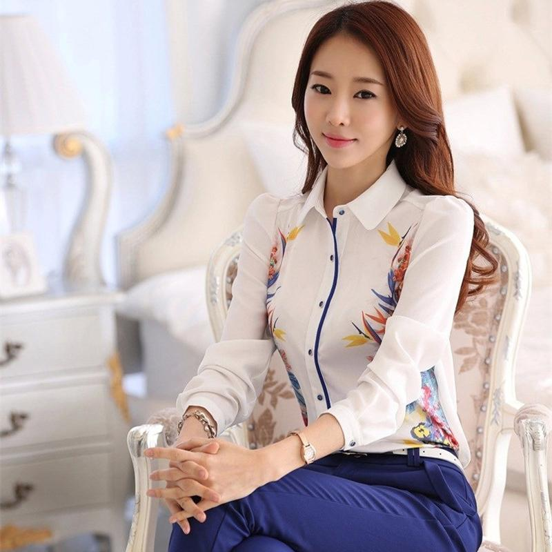 Good Quality Brand New 2015 Spring Summer Women Floral Print Shirt Blouses, Plus Size Maxi White Chiffon Tops