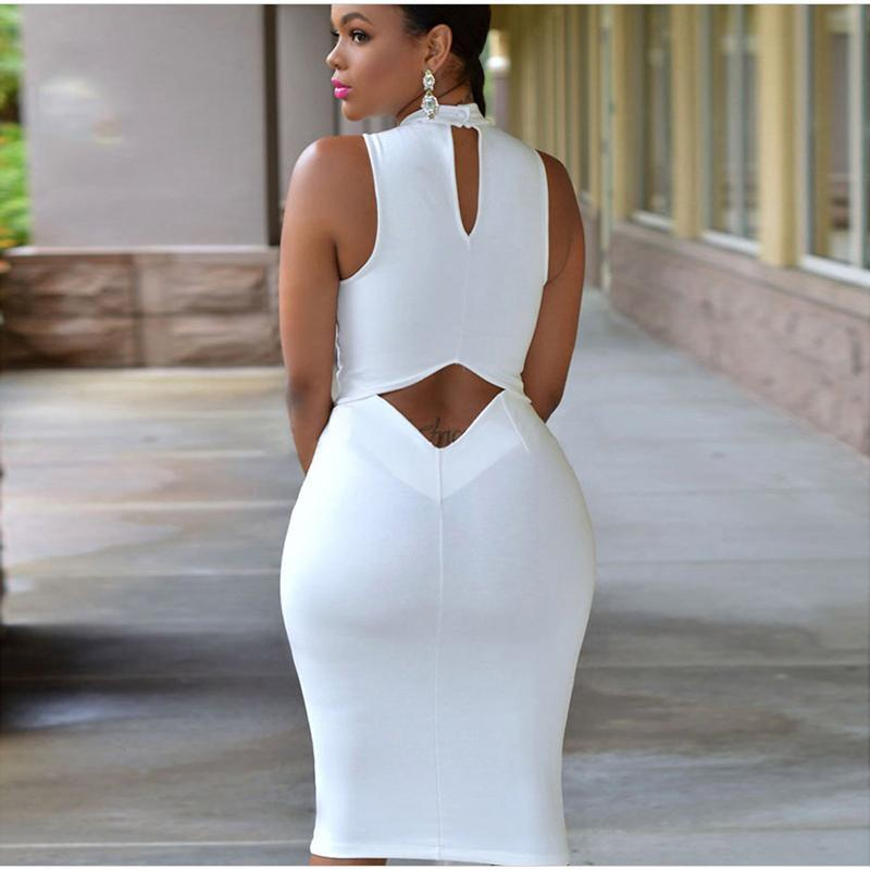 Wholesale 2016 Women colors Cutout Back Turtle Neck Midi Sexy Club Dress Bodycon Package Hip Midi Dress Sexy Night Club Wear