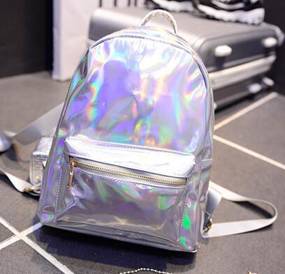 Wholesale Patent Leather Holographic Backpack Women Silver Hologram Bag Girl School Bag