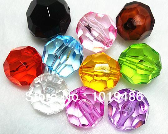 Wholesale Mixed color MM Acrylic Faceted Beads Transparent Round Bicone Hexagon Beads for Chunky Necklace