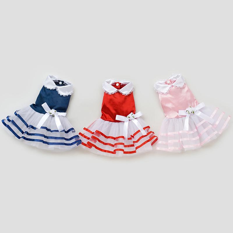 Wholesale Dress For Small Dogs Summer Cute Striped Satin Dress For Chihuahua Yorkie Dog Clothing Pets Croupas Baratas Size