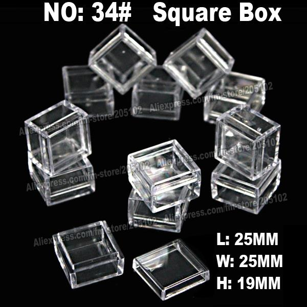art storage box - square jewelry boxes plastic acrylic cosmetic nail art Pill box case portable storage container diy parts stones tools