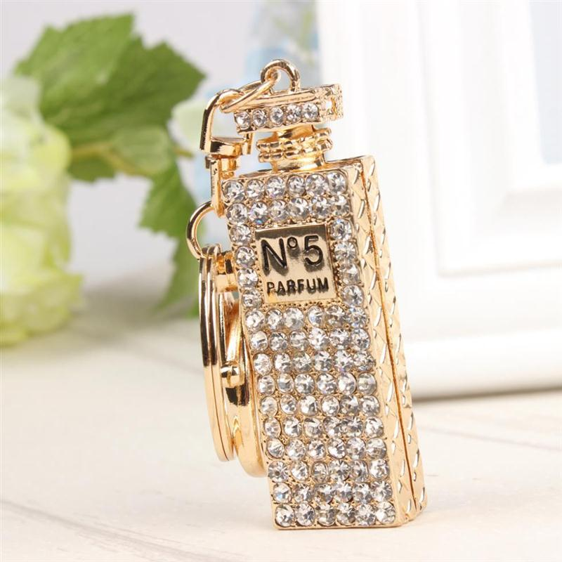 Cheap Wholesale-Fashion Perfume Bottle Rectangle Charm Pendant Crystal Car Purse Bag Key Chain Ring Creative Party Birthday Gift