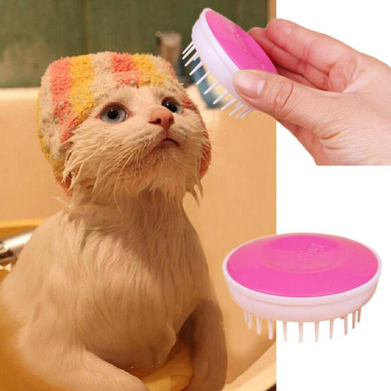 Wholesale 2016 New Convenient Pet Bath Brush Comfort Plastic Massage Needle Pet Products Color Random Drop Shipping