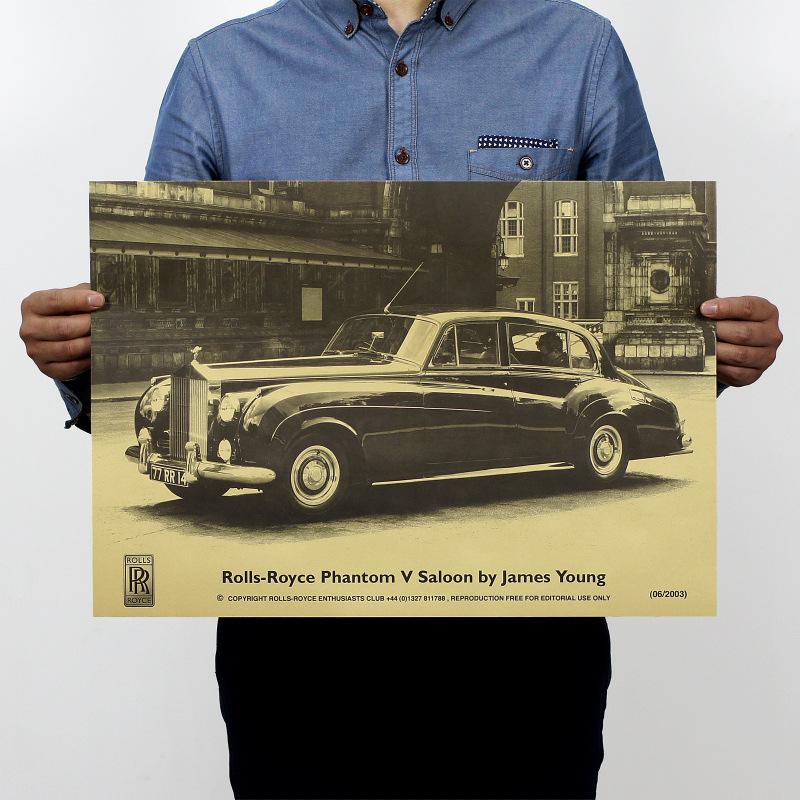 antique rolls royce - Rolls Royce Famous Antique Car Vintage Kraft Paper Poster Home Decor Wall Decals Art Craft Retro Painting