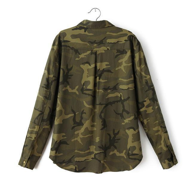 Fashion Women 2016 New Long Sleeve Camouflage Clothing Shirt Novelty Casual Slim Embroidery Coats Jackets Coat Blouses
