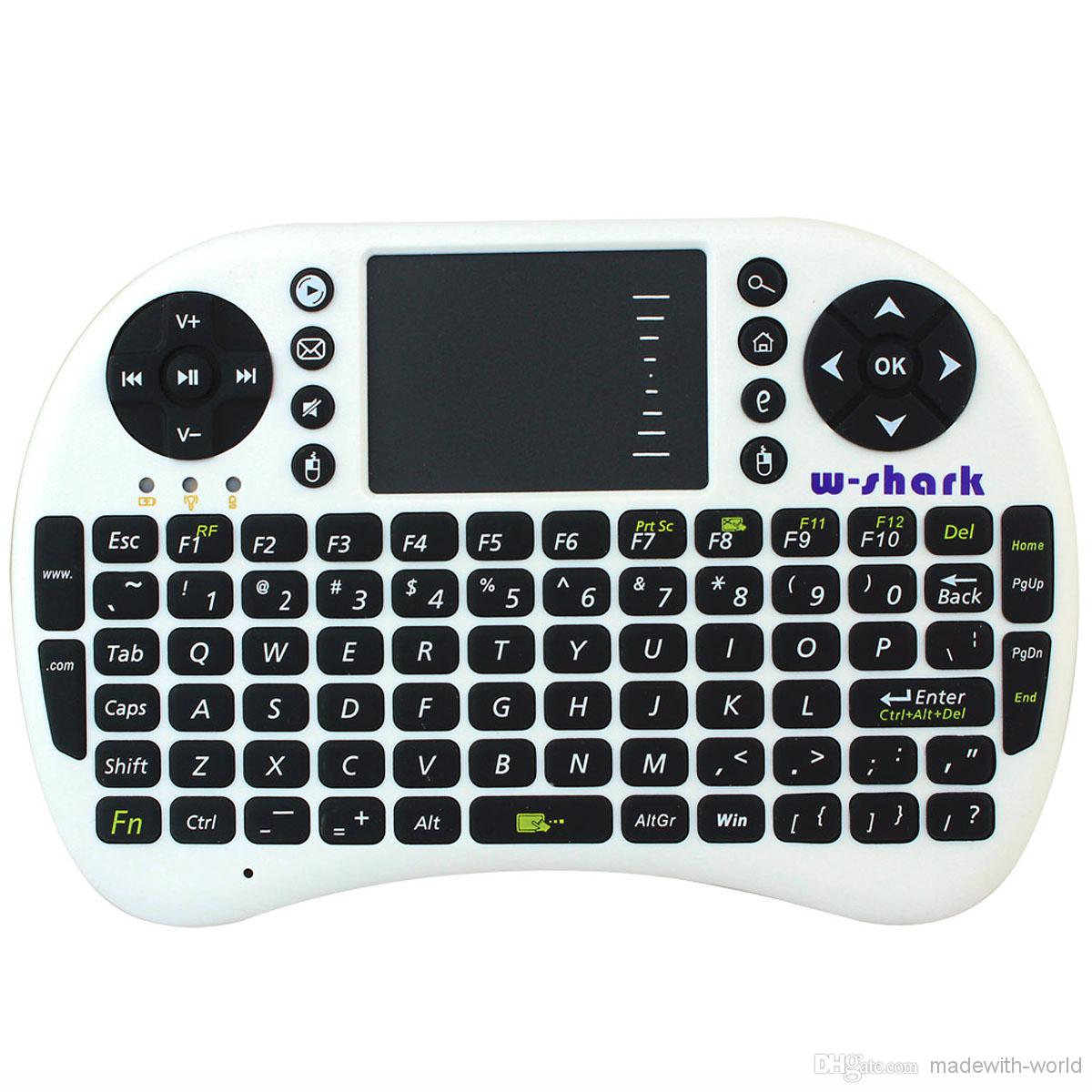 Wholesale W shark AC New White Android Auto Sleep And Wake Feature GHz Mini Wireless QWERTY Keyboard Mouse With Touch Pad K0229B