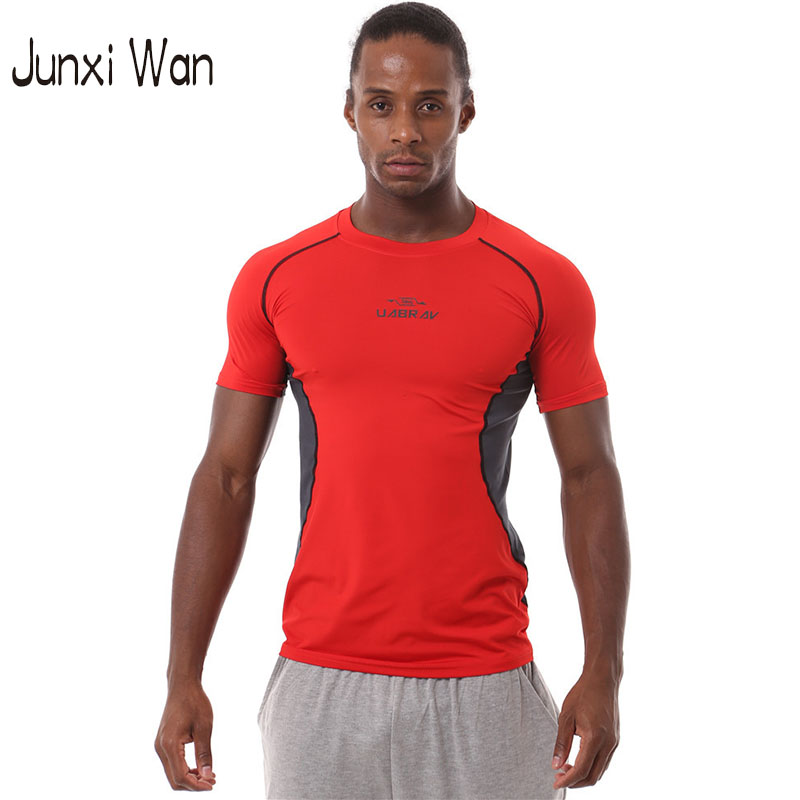 Wholesale Men Sport Brand Fitness Bodybuilding Gym T shirt Latest Men s Compression Tights Running Singlets Quick Dry Shirts MS0029