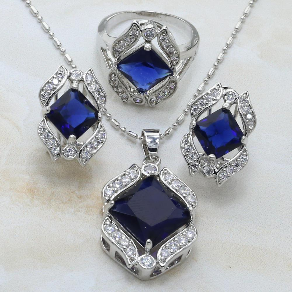african gift bags - S182 Enchanting A variety of colors Emerald White Topaz Silver Earrings Pendant Necklace Free Gift Bag Fashion Jewelry Sets