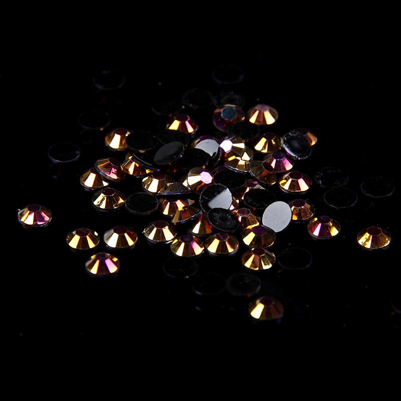 art supply case - Gold Black AB Color Resin Rhinestones mm Flatback Round Non Hotfix Glue On Diamonds DIY Nails Art Phone Case Supplies