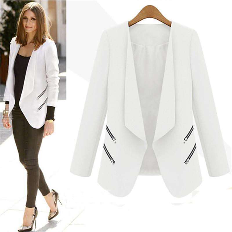 Wholesale 2016 Autumn Women Slim Leisure Blazers Fashion Zipper Solid Thin Coat Long Sleeve Workwear Jacket