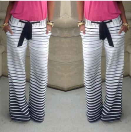 Wholesale 2016 Stripe Comfortable Casual Jogging Pants With Belt Pantalones Mujer Plus Size Women Pants Jogging Femme Survetement