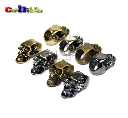 Wholesale Pack Silver Charm Metal Skull For Paracord Knife Lanyards Paracord buckle FLQ053 Mix s