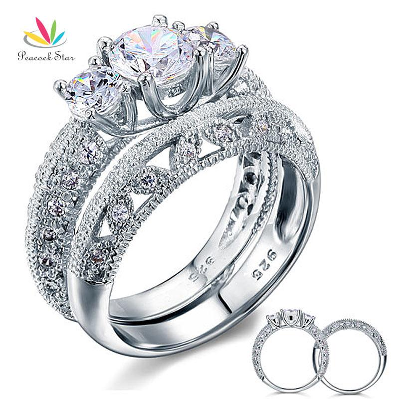Wholesale Vintage Style Victorian Art Deco Ct Created Diamond Solid Sterling Silver Wedding Engagement Ring Set CFR8100