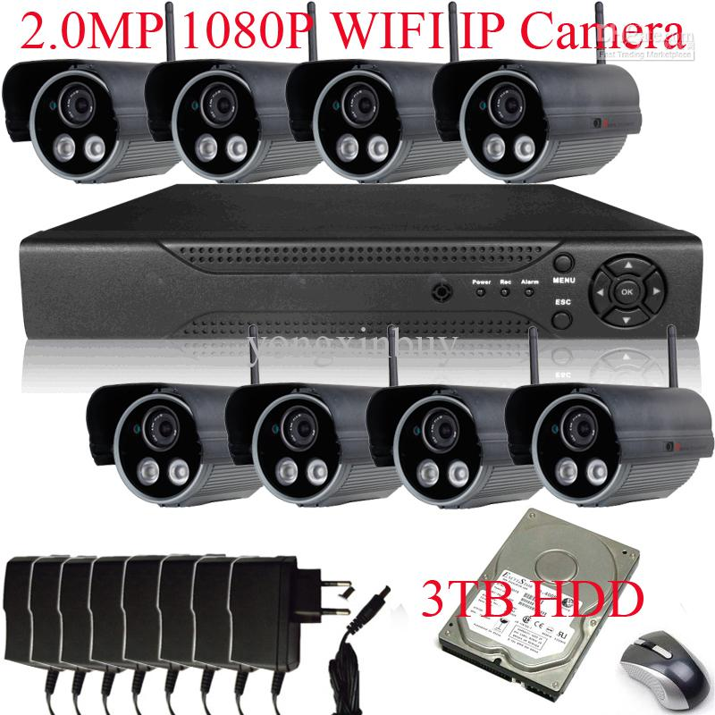 Wholesale 8CH H NVR System MP Sony Sensor P Outdoor Array IR WIFI Network IP Wireless Camera With TB HDD