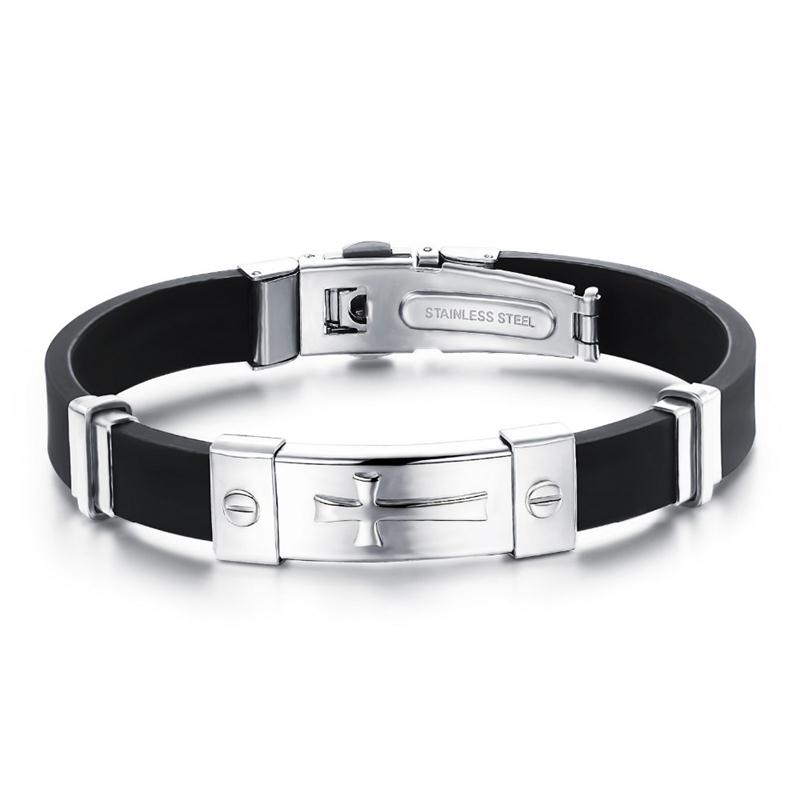 Wholesale Classic Cross Genuine Sillicone Black Silicone Bracelet Titanium Gift Men s ID Cross Bracelets For Man Homens Pulseira TY929