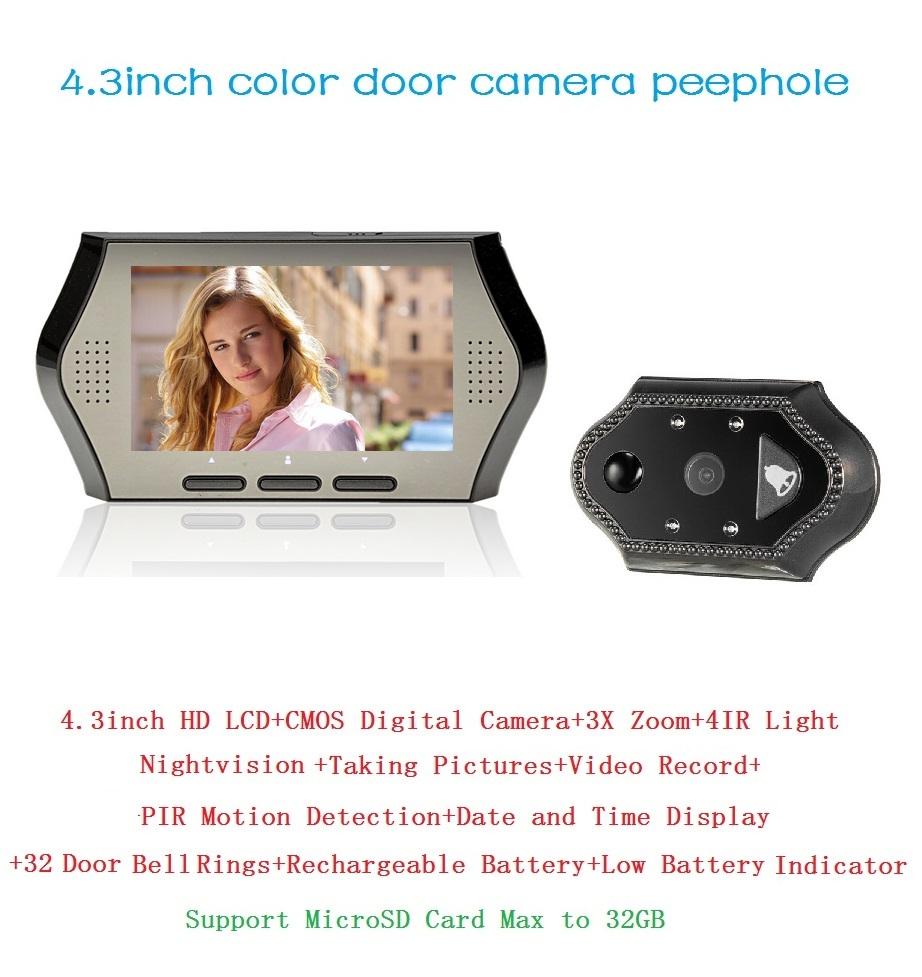 2016 wireless door peephole camera 4.3inch IR night vision PIR Motion Detection 32 Rings 3X Zoom peephole door